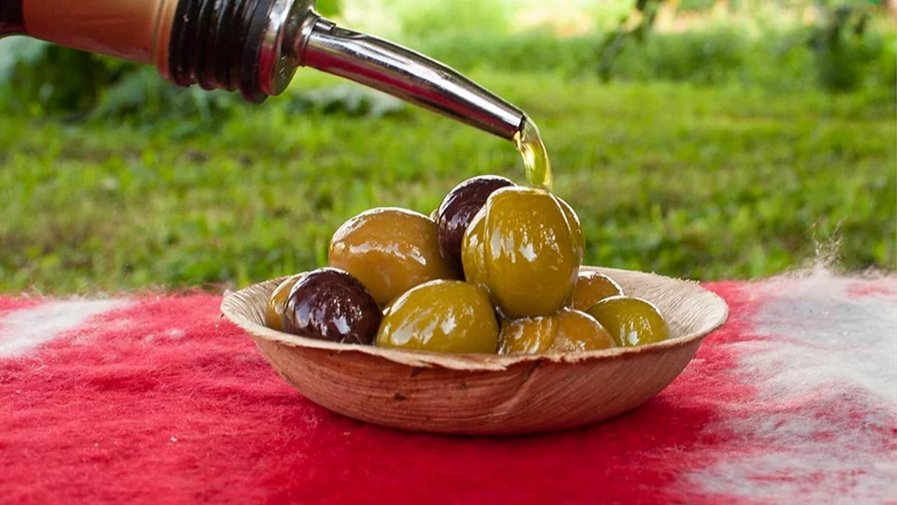 Marinated Olives on a table