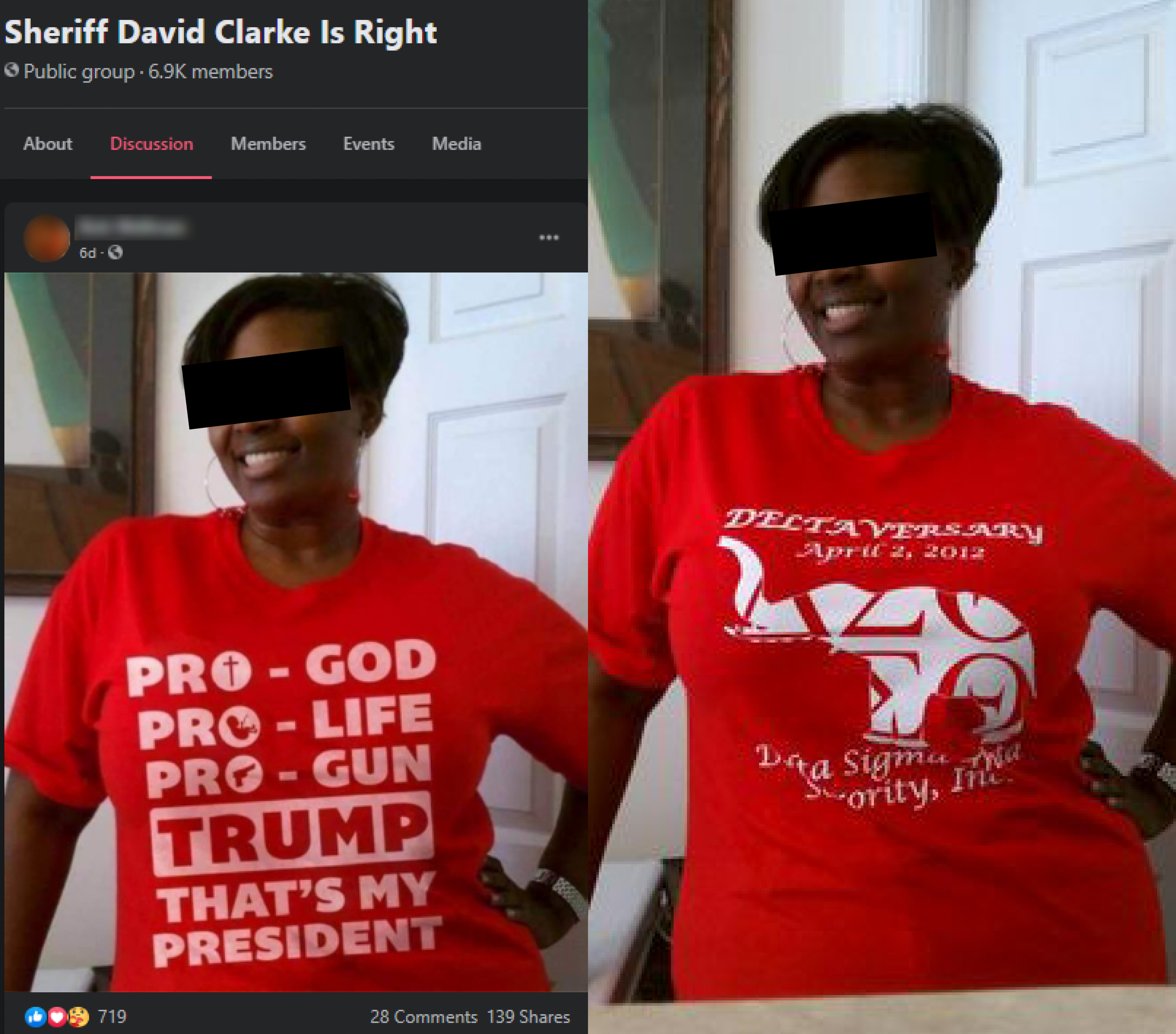 This image of a woman seemingly wearing a pro-Trump T-shirt appeared in the public Facebook group Sheriff David Clarke Is Right. But a reverse-image search shows that the text was digitally imposed onto her clothing. Wisconsin Watch has blurred the profile name of the Facebook user and obscured the identity of the woman pictured.