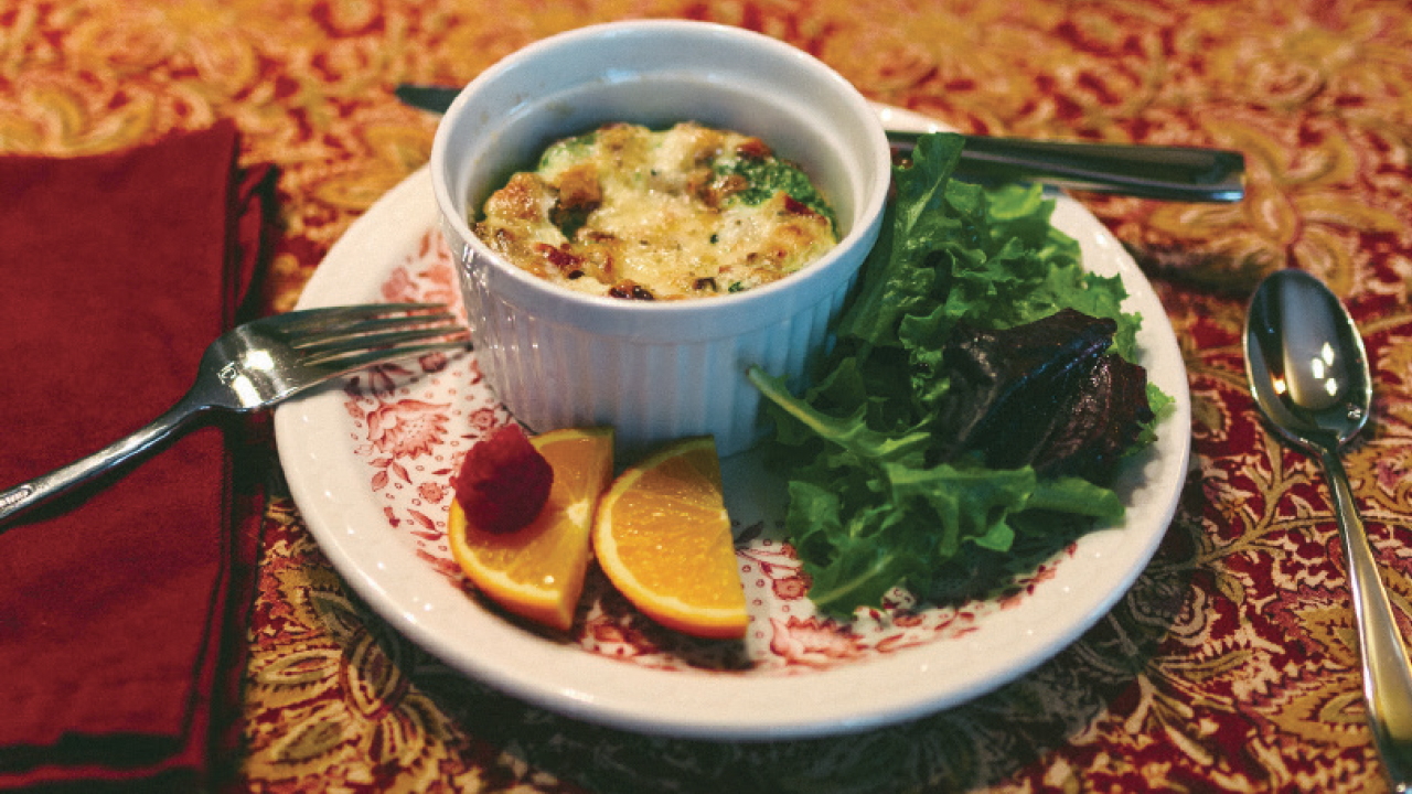 quiche with salad at the Buckingham Inn
