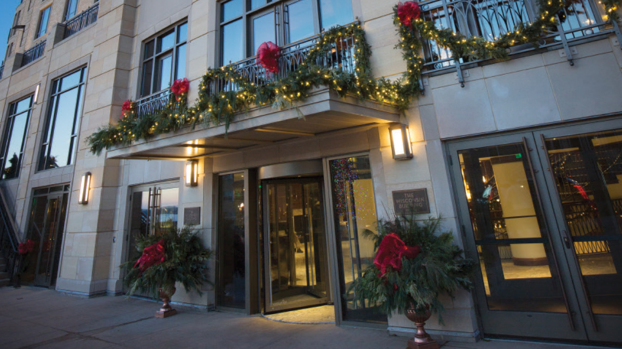 front of Edgewater Hotel covered in decorations