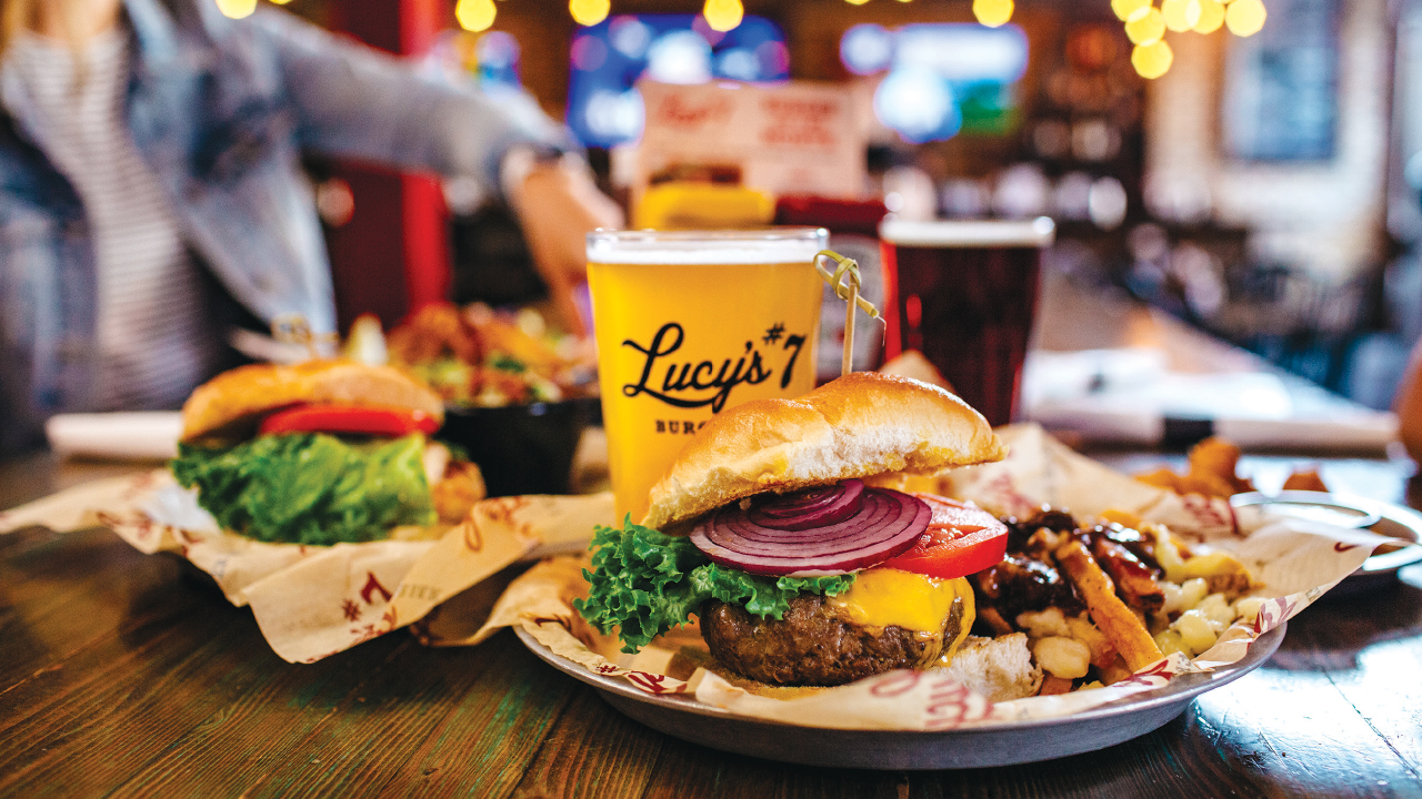 burgers and beers at Lucys