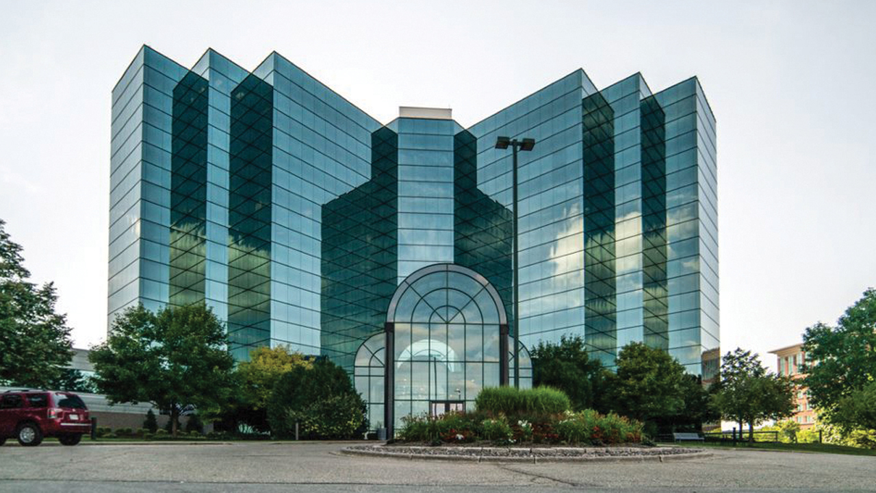 An outside look at Artis REIT Madison's glass building