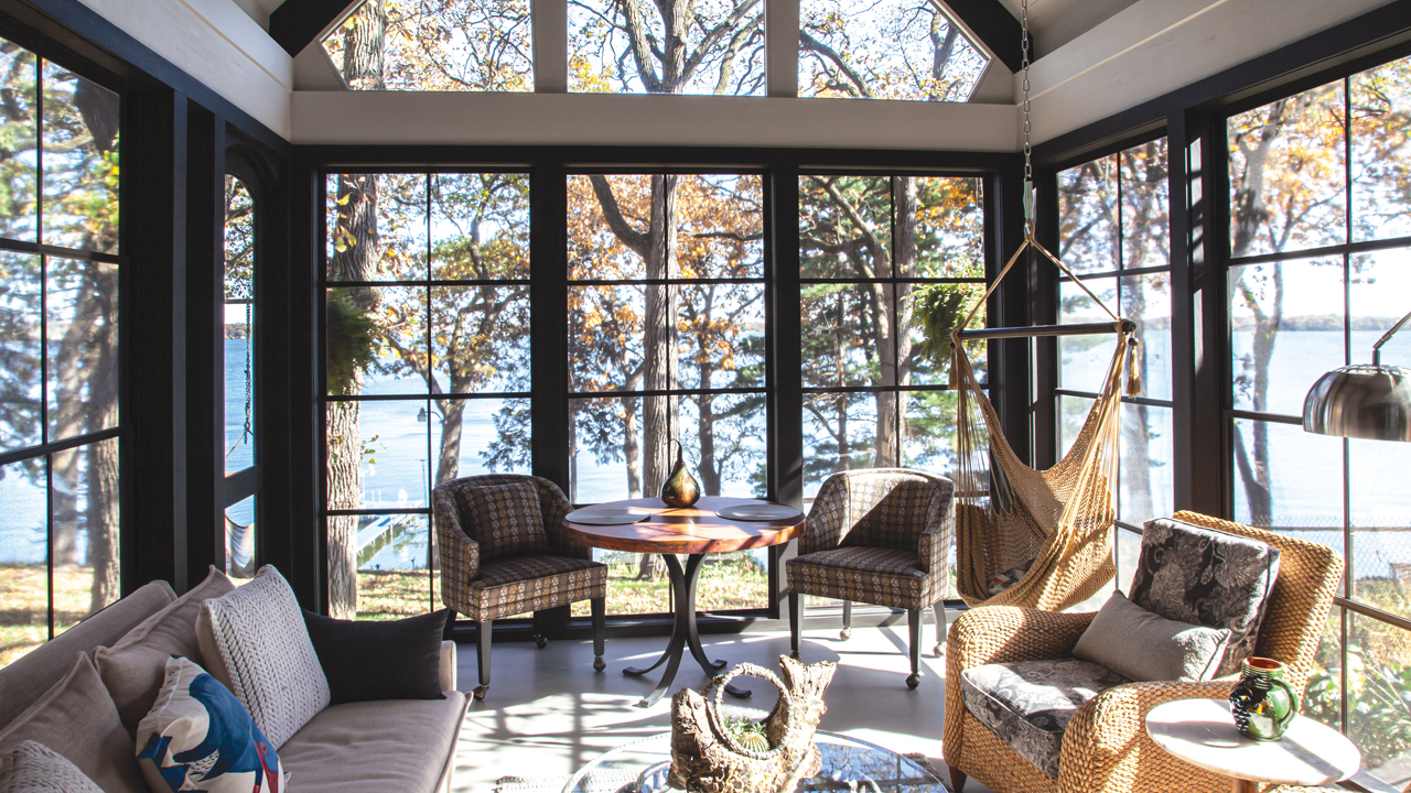 Dream House designed all-season porch with big windows and lots of sunshine