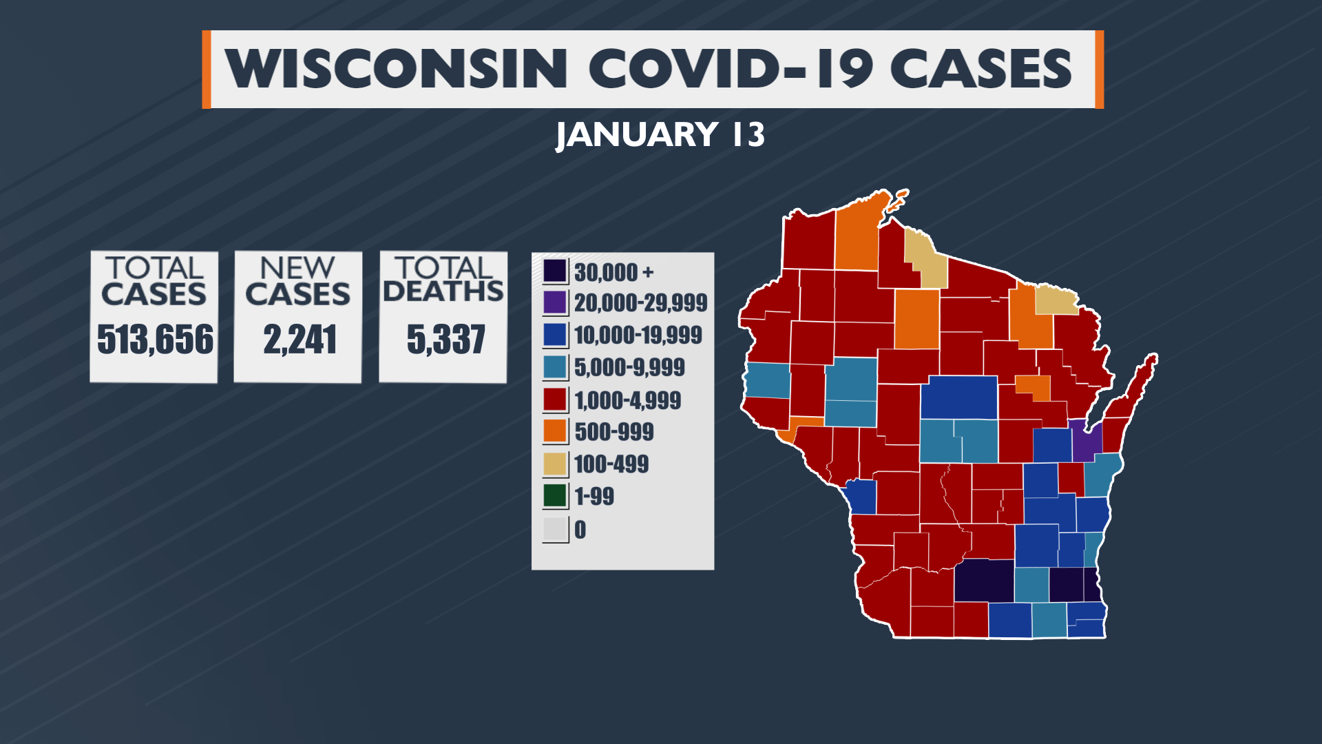 1 13 21 310pm Update Wi Covid 19 Cases Map