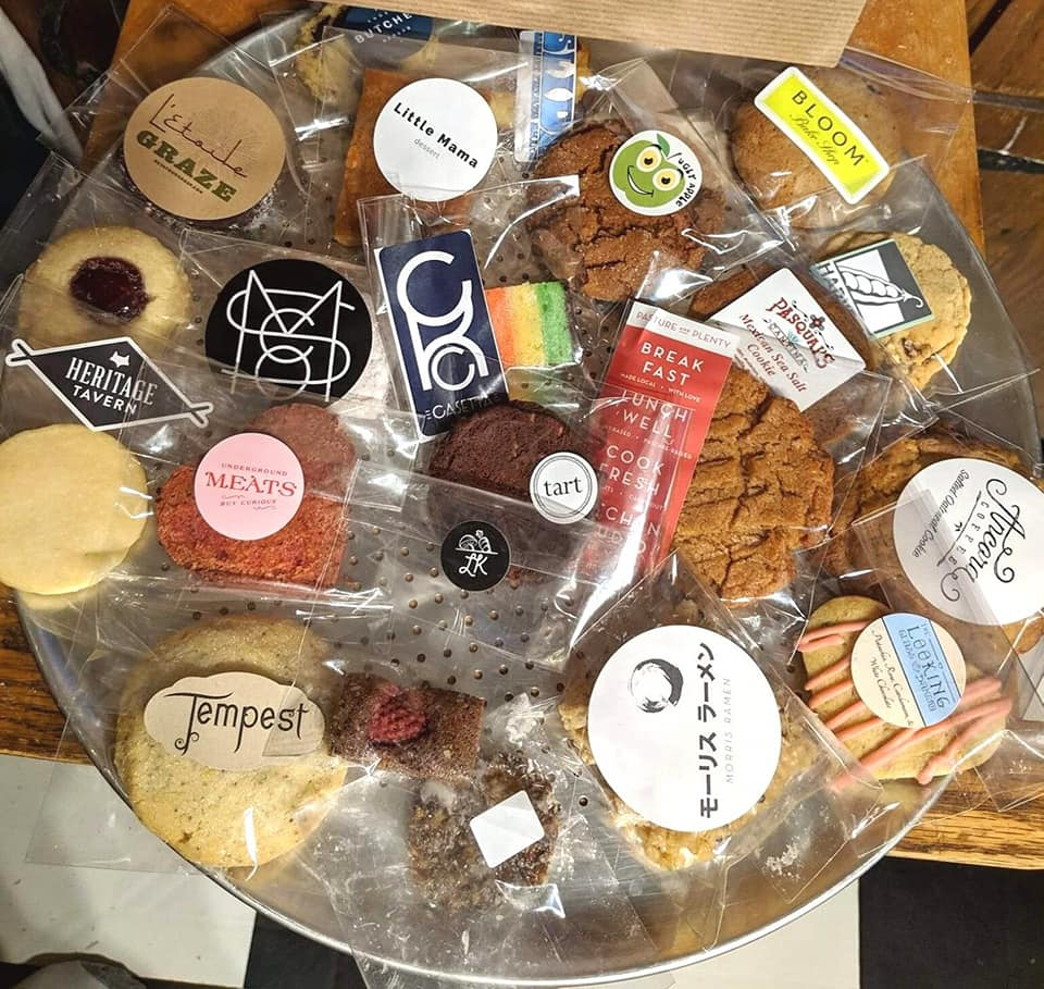 Cookies from different businesses packaged