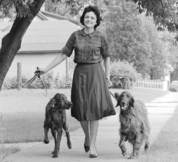 Shirley Abramson walking her dogs