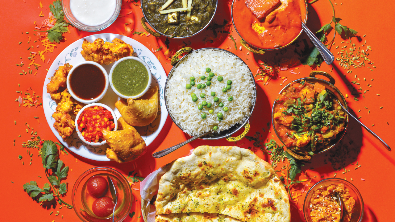 A spread of plant-based dishes from Maharani Indian Restaurant