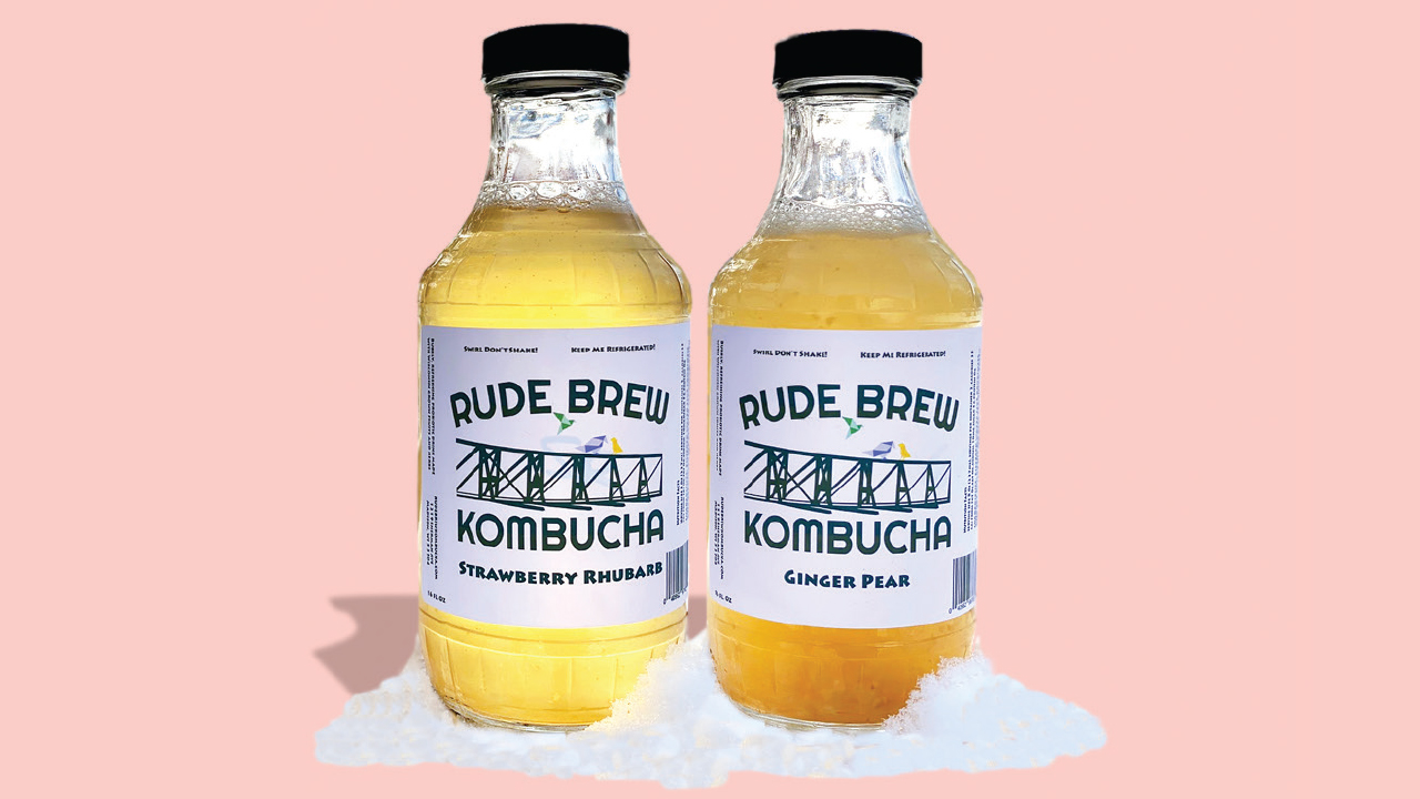 two bottles of Rude Brew