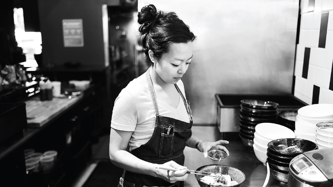 Francesca Hong working in the kitchen