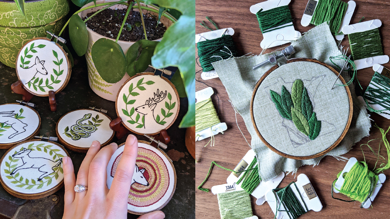 little green embroidery circles