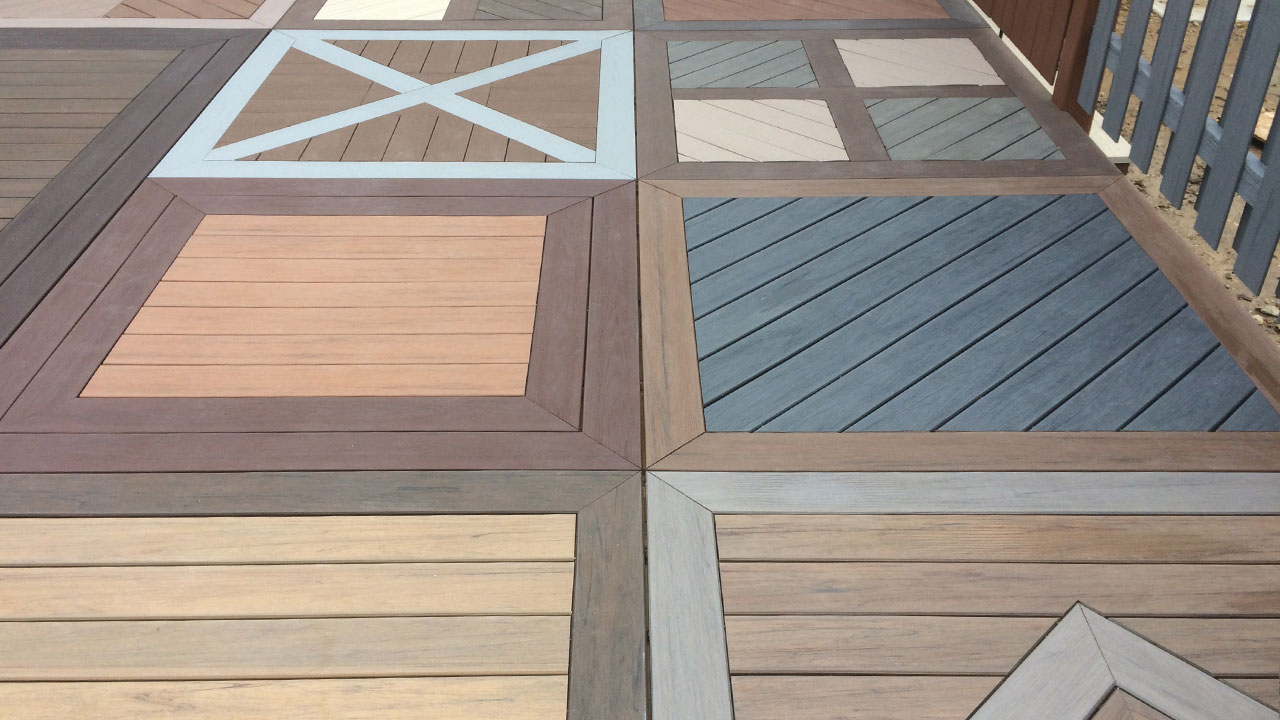Samples of Marling Lumber's deck material choices