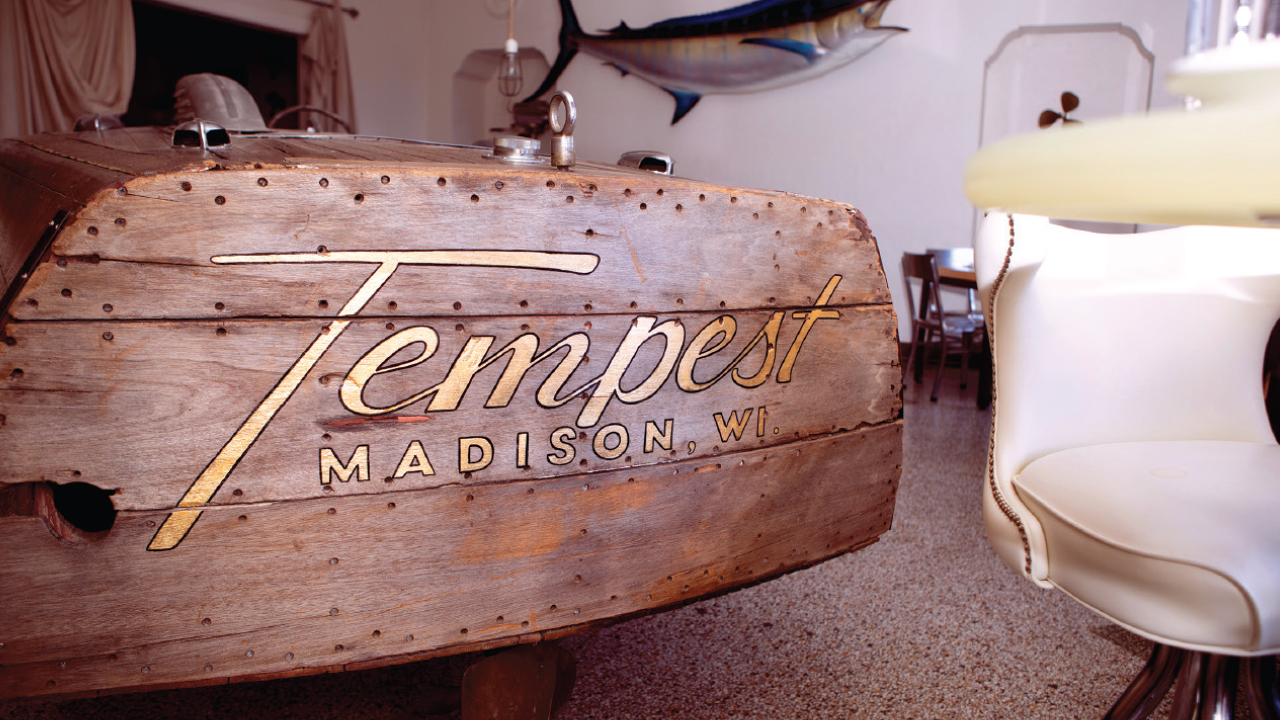 Boat inside of Tempest that says Tempest
