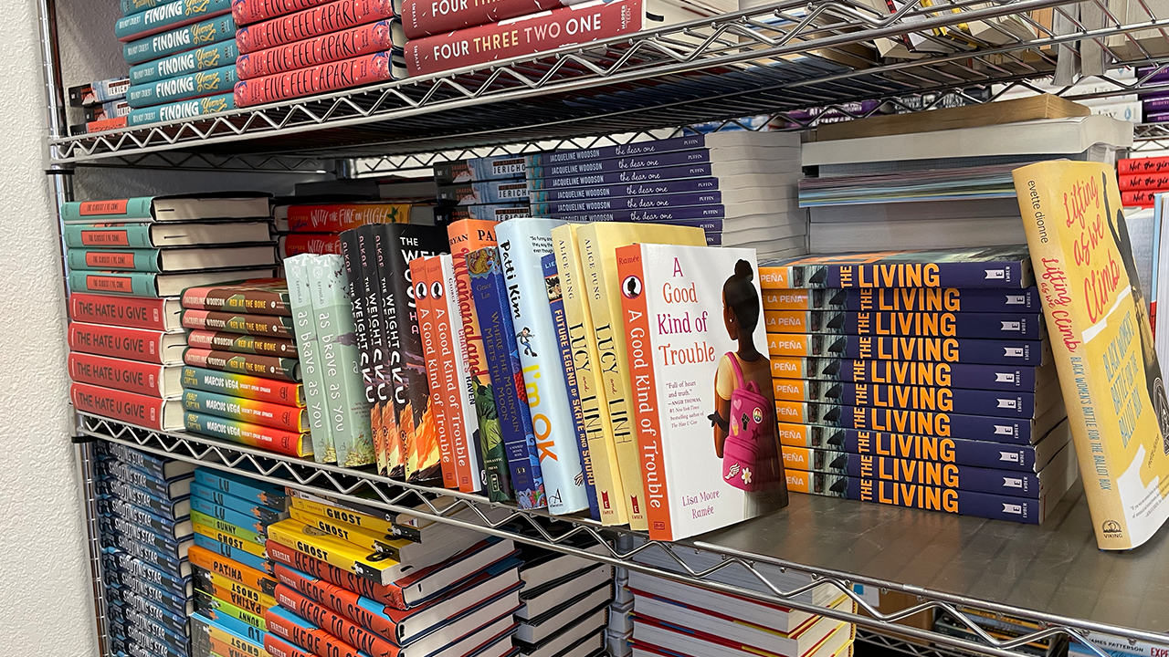 New books featuring diverse characters are stacked on shelves at the new Madison Reading Project center.