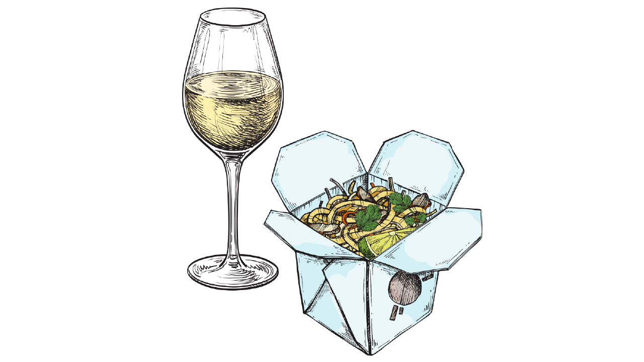 sparkling wine with container of takeout