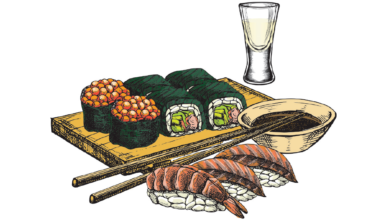Sushi with cup of sake