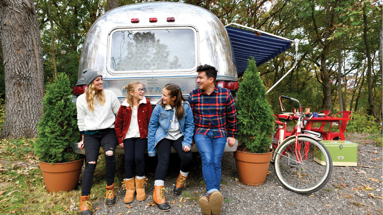 sitting in front of an airstream