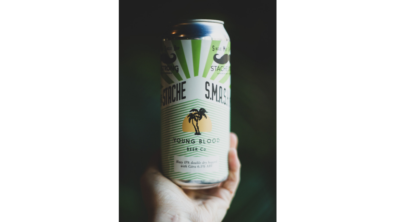 hand holding a green beer can with a palm tree on it