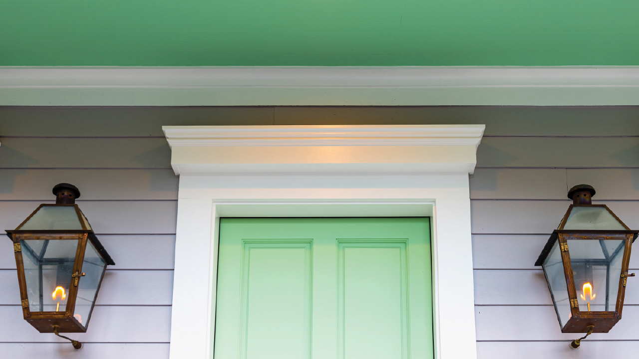 Brightly colored front door