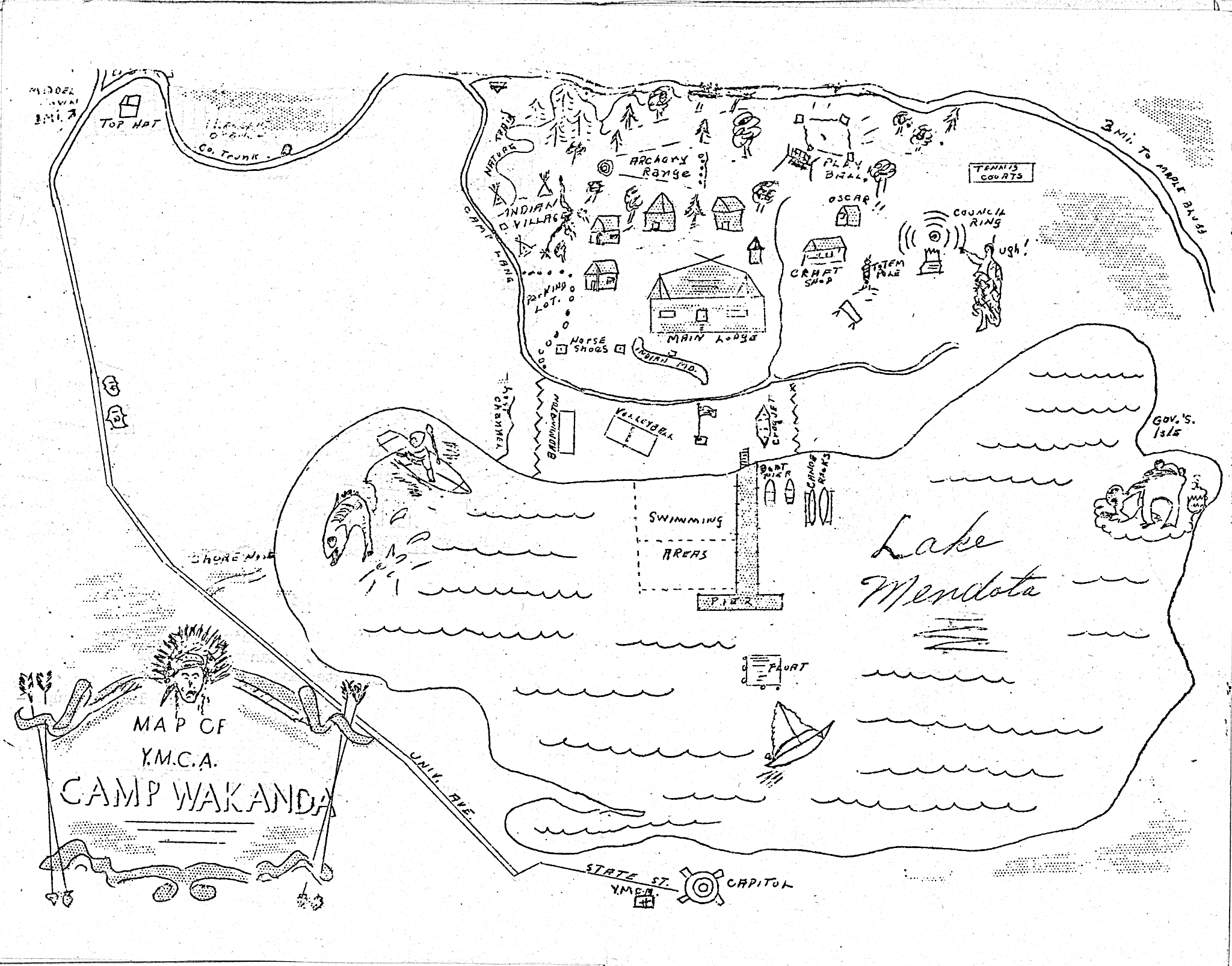 An old sketched map of YMCA of Dane Countys original Camp Wakanda, which closed in 1972