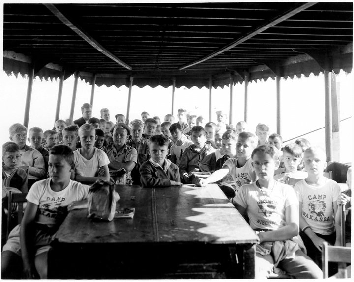Black and white photo of kids at the YMCA of Dane Countys summer camp back in the day