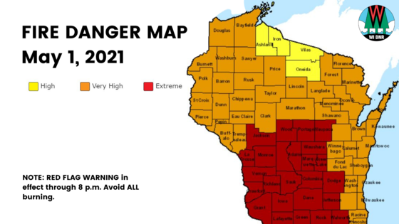 a map of Wisconsin shows that central counties are experiencing very extreme fire danger