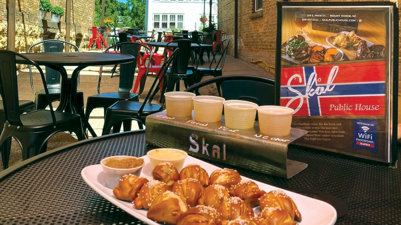 cheese curds and flight of beer at Skal