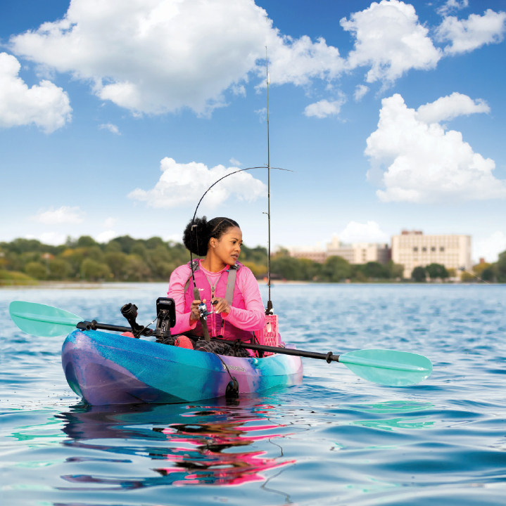 Ashley anderson fishing in her kayak