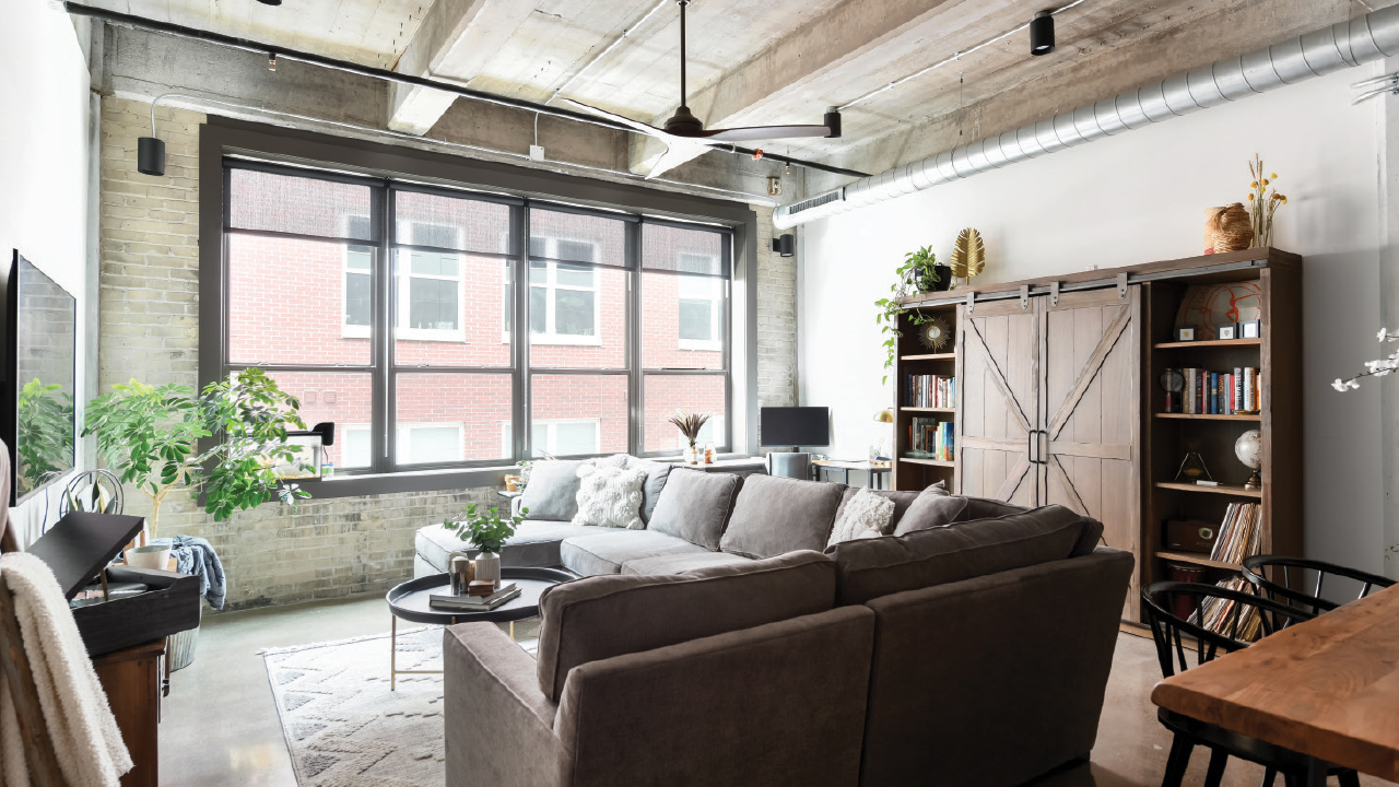 living room area in an apartment