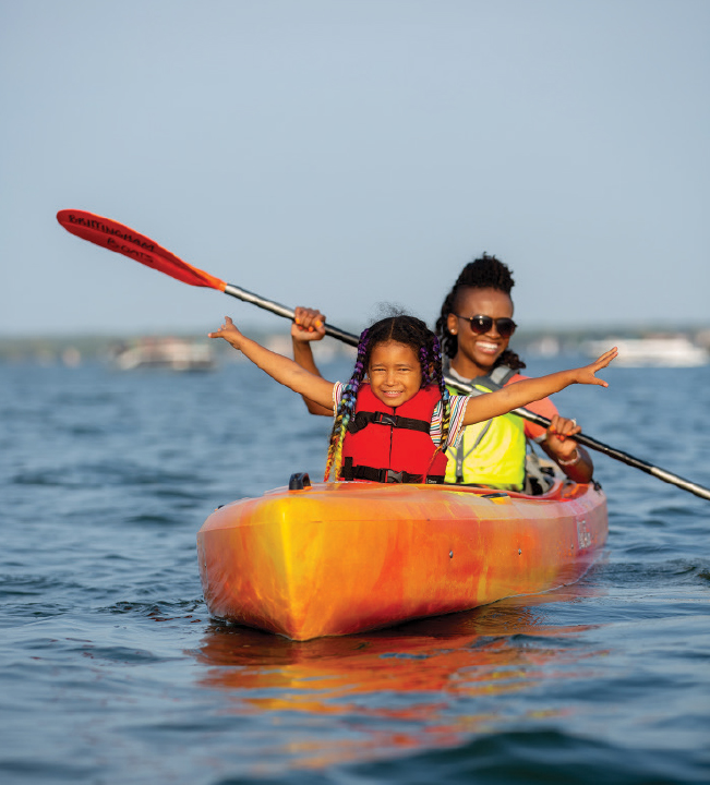 dineo and her daughter on the water