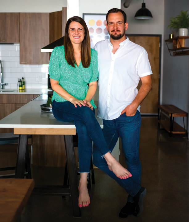 Whitney Doering and Lincoln Durham in their apartment