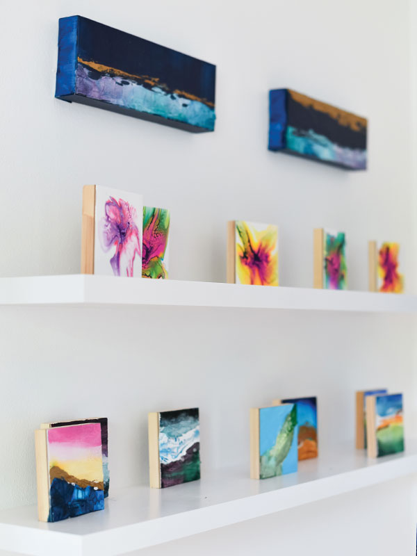 gallery space with canvases