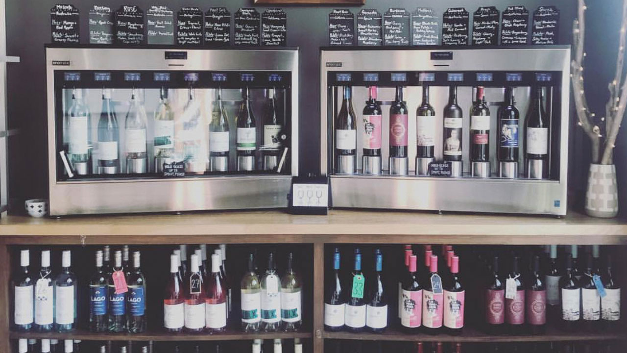 wine available for self service at Toot and Kate's Wine Bar