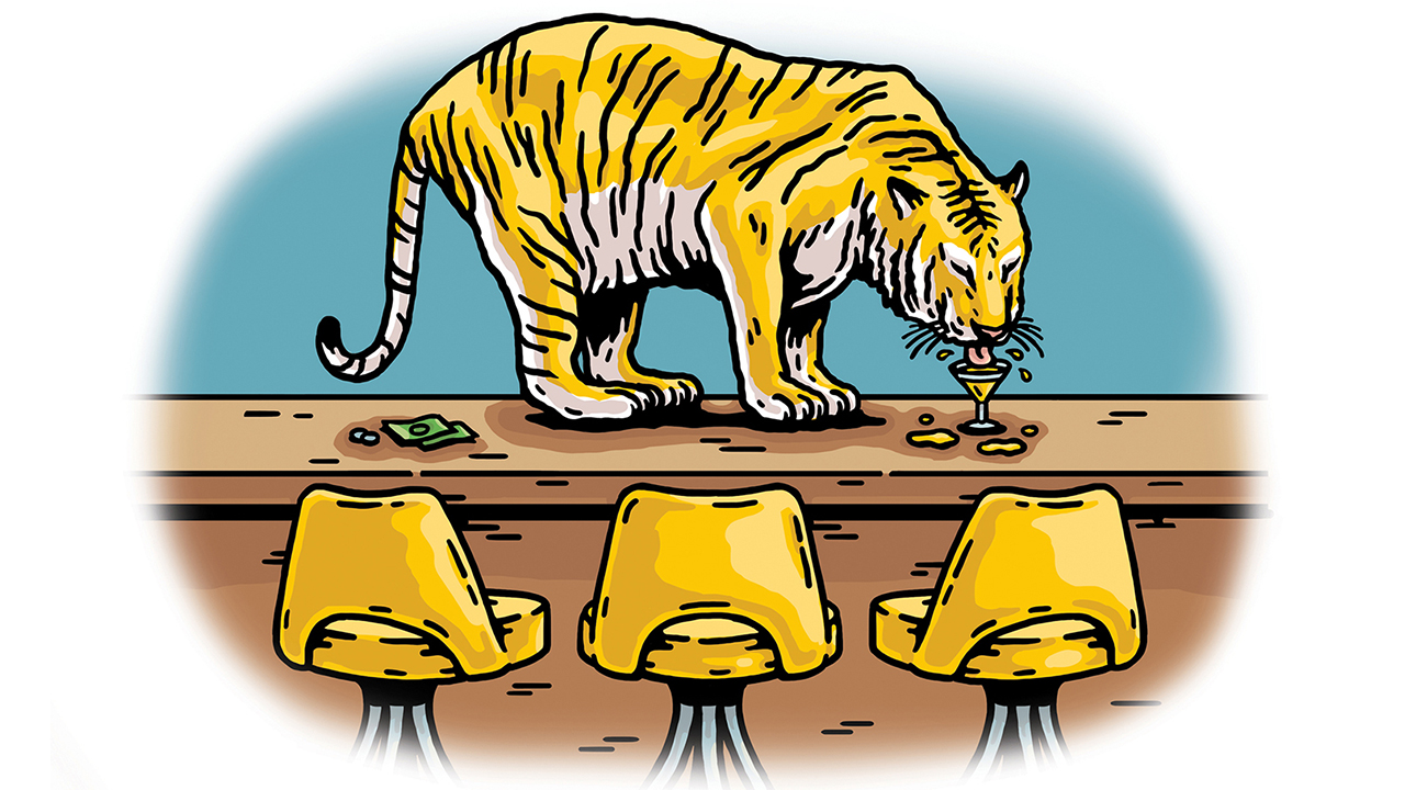 illustration of tiger on the top of a bar