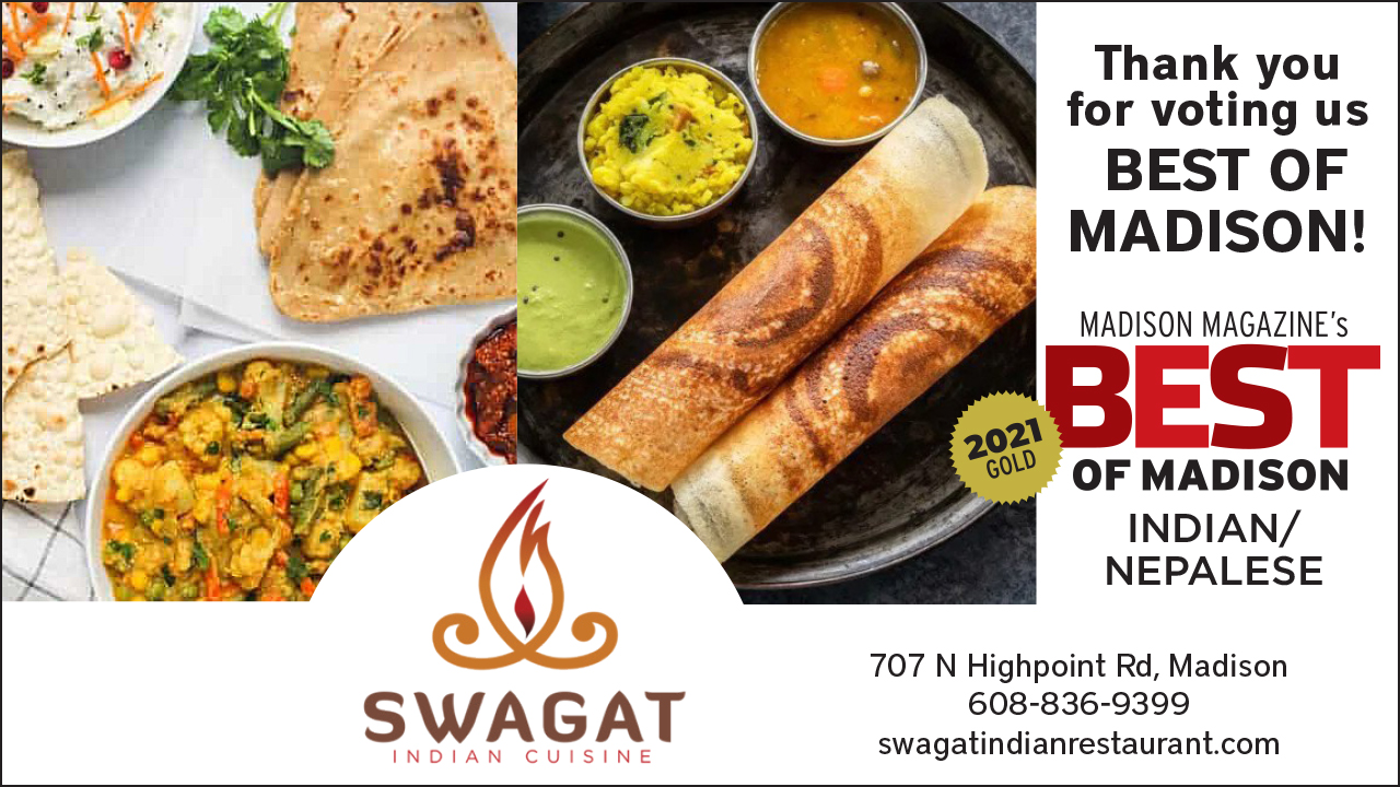 Swagat best of madison ad with indian dishes