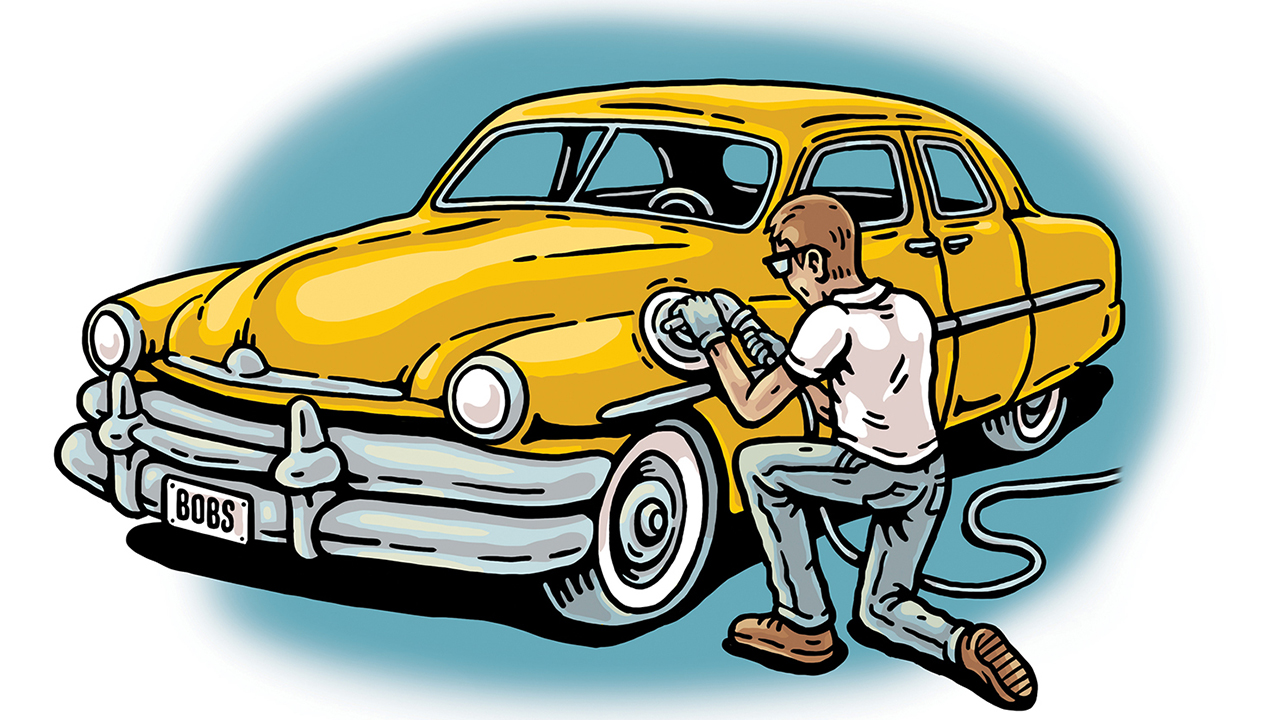 illustration of someone cleaning a car
