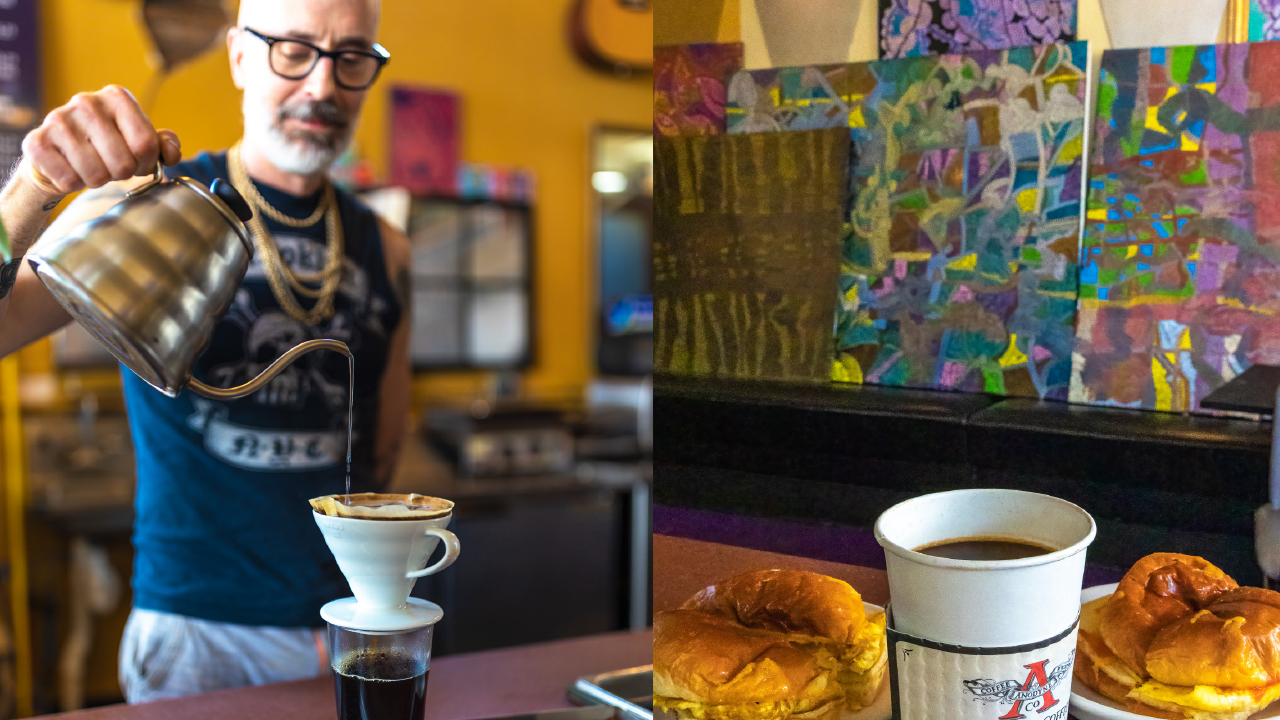 Owner Patrick Downey pouring coffee into a cup next to a photo of breakfast sandwiches and a cup of coffee