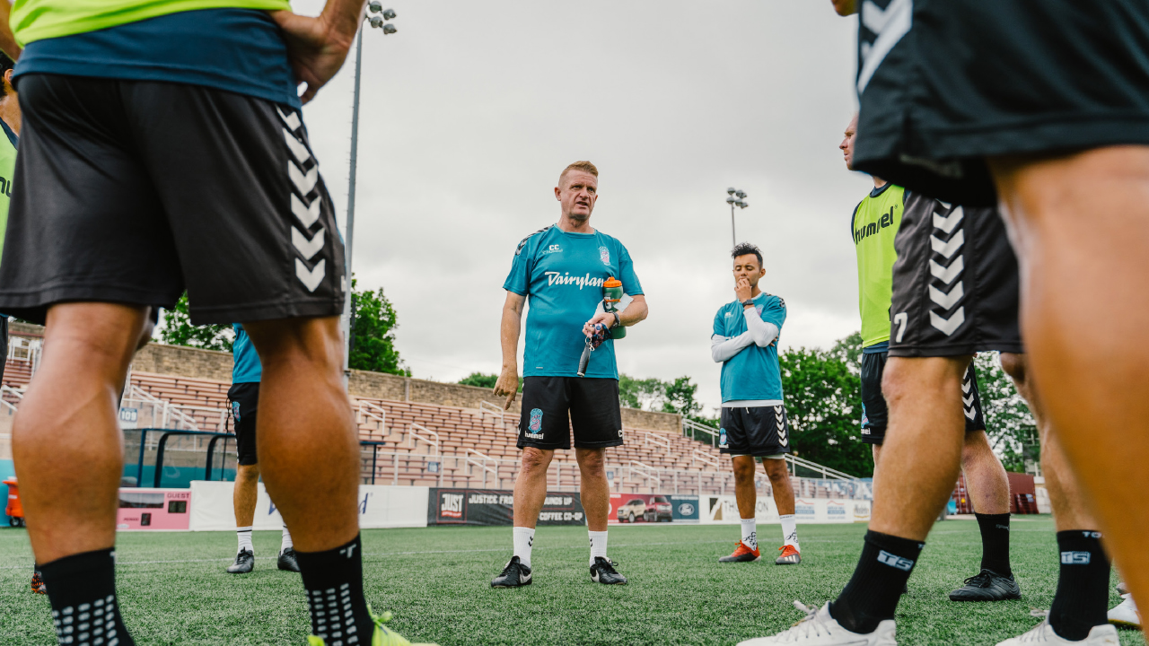 Carl Craig with members of Forward Madison FC