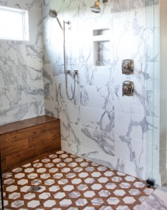 shower with two different patterns