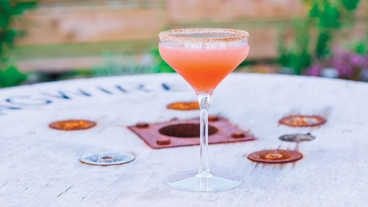 pink cocktail on a table