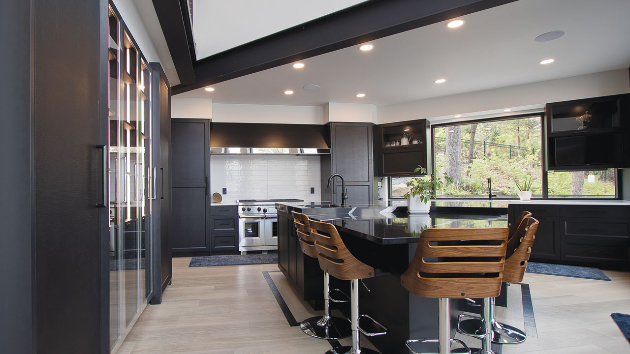 interior space with a large kitchen space