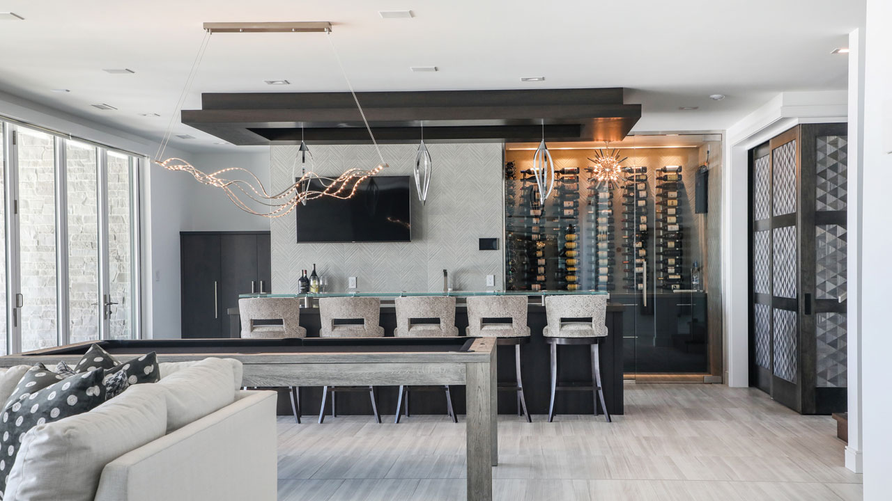 wine rack with a table