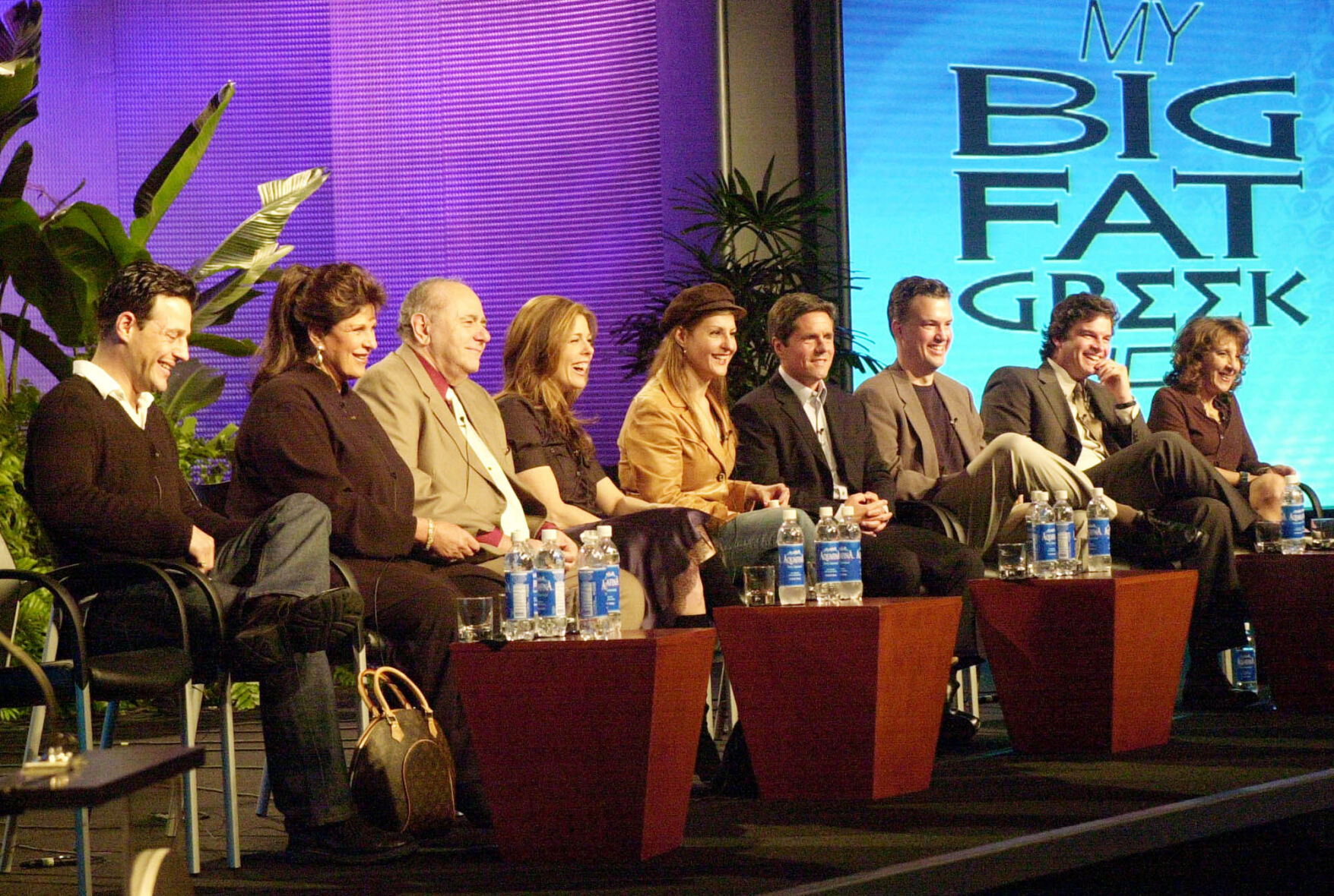 """<p>The cast and producers of the new CBS television show """"My Big Fat Greek Life"""" from left, Louis Mandylor, Lainie Kazan, Michael Constantine, Rita Wilson, Nia Vardalos, Brad Grey, Marsh McCall, Steven Eckholdt and Andrea Martin answer questions for reporters Monday, Jan. 13, 2003, in Los Angeles.</p>"""