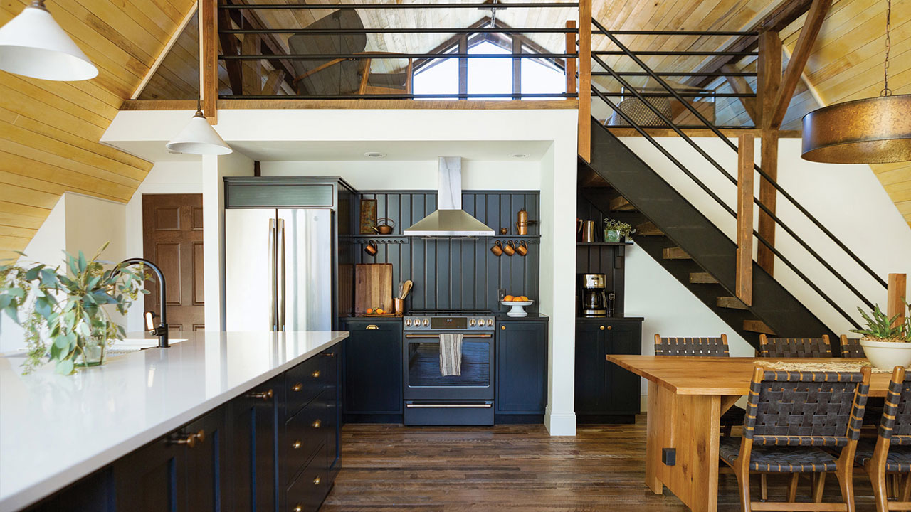 space with an overarching loft