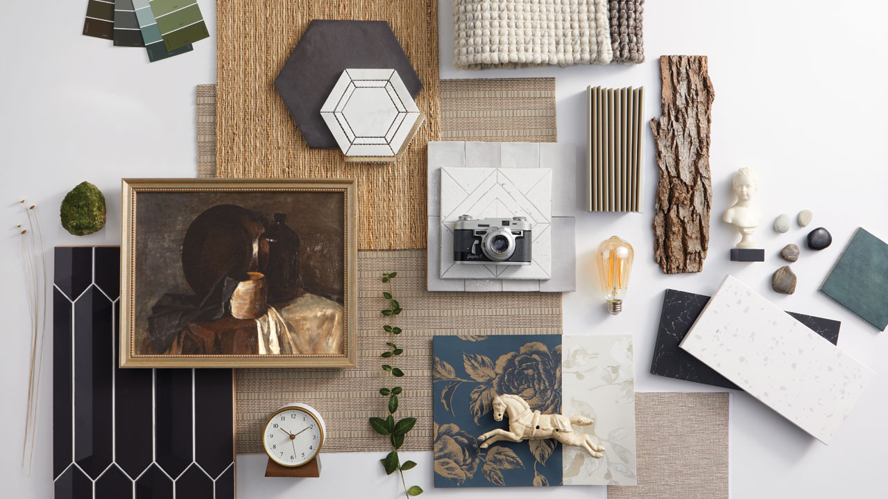 small items on a spread to show a mood board