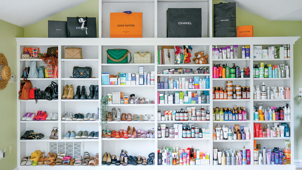 products all along a wall