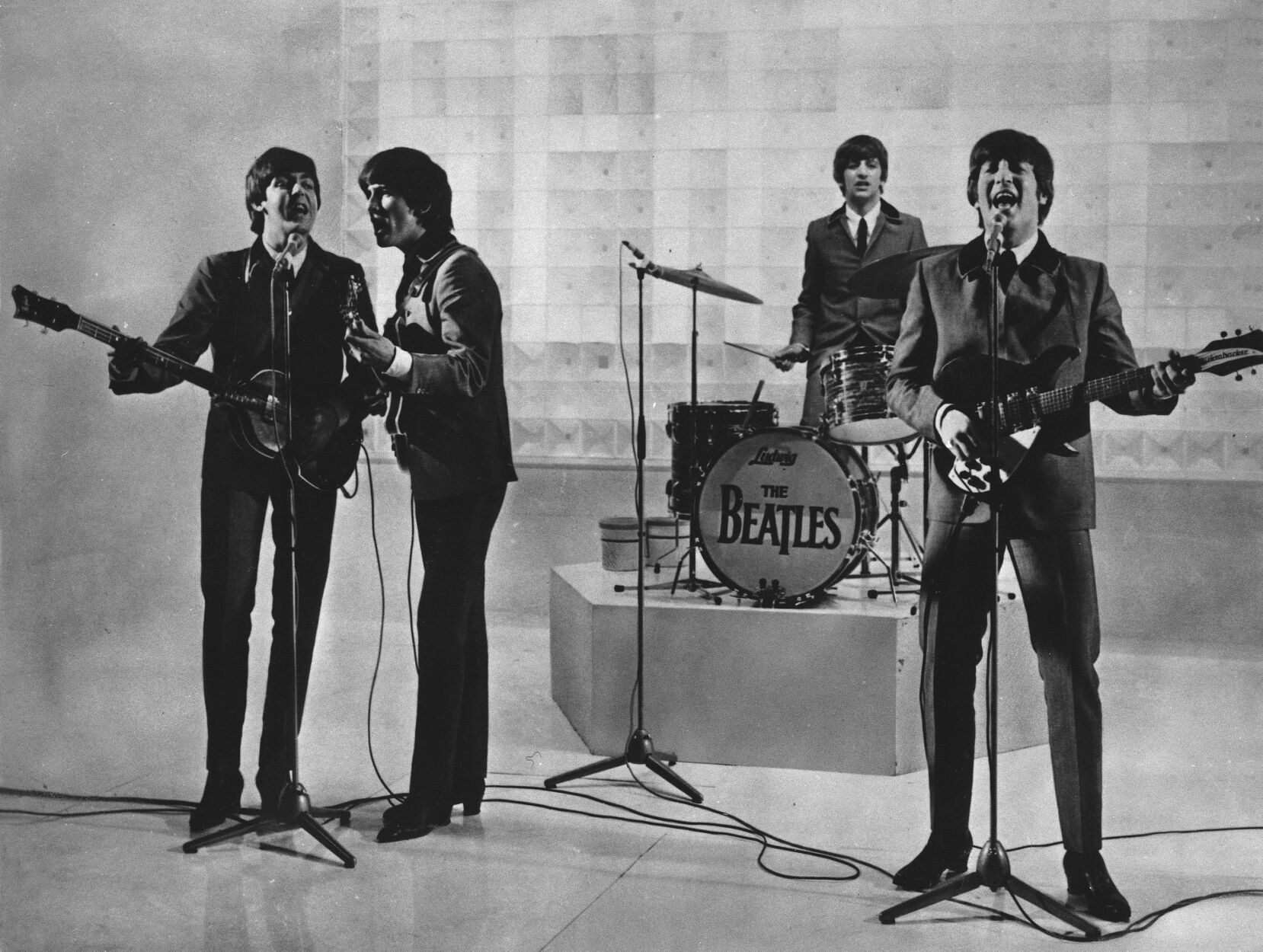 """<p>The Beatles are seen performing, date unknown. From left to right: Paul McCartney, George Harrison, Ringo Starr, and John Lennon. McCartney has revisited the breakup of The Beatles, refuting the suggestion that he was responsible for the group's demise. Speaking on an episode of BBC Radio 4's """"This Cultural Life"""" that is scheduled to air Oct. 23, McCartney said it was John Lennon who wanted to disband The Beatles.</p>"""