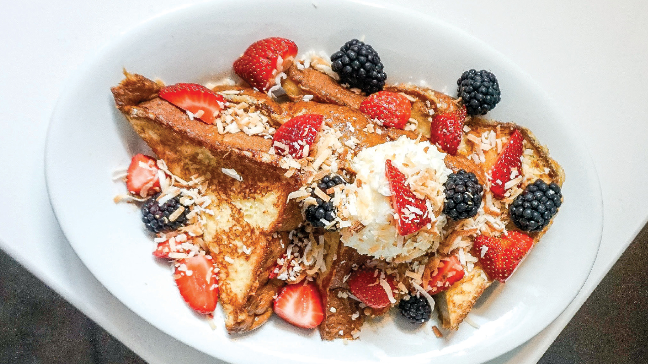 Bassette Street Brunch Club's french toast with berries and coconut