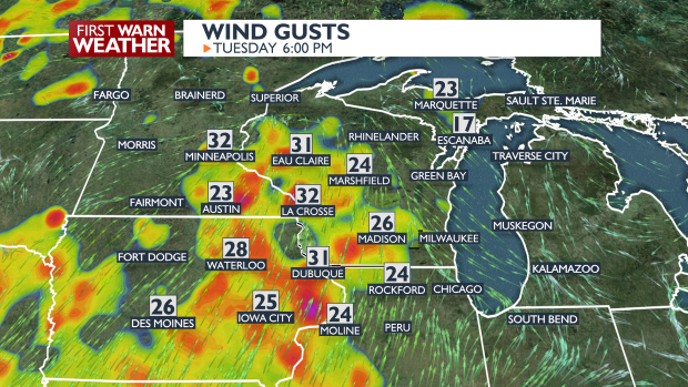 Wind Gusts Map